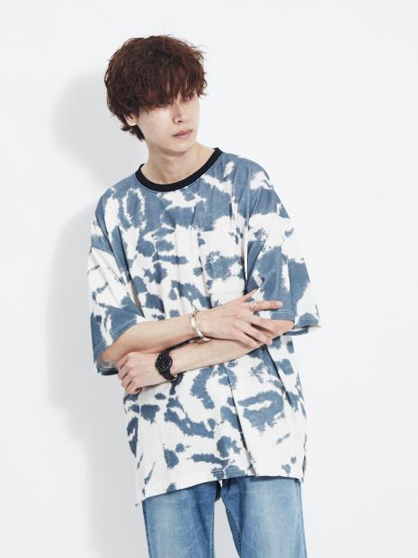 【ATELANE】20A-14142 タイダイ 天竺 クルーネック 半袖 Tシャツ