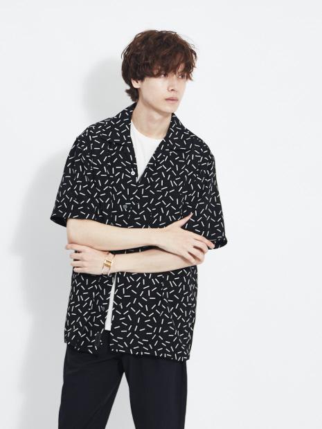 【MMMM】15021M20 ランダムバープリントオープンカラー 半袖シャツ
