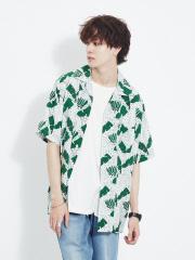 【MMMM】15025M20 ボタニカルプリントオープンカラー 半袖シャツ