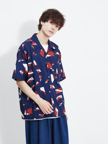 AT-SCELTA Select (MEN'S) - 【MMMM】M2015021 ランダムプリントステンカラーシャツ