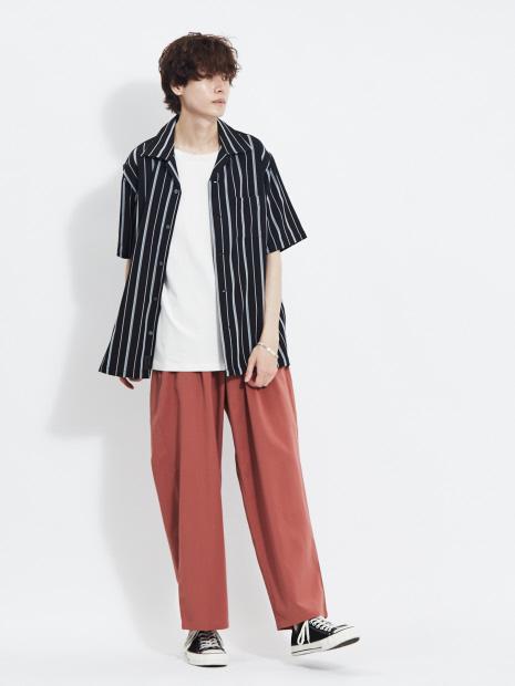 【MMMM】15015M20 ストレッチストライプオープンカラーシャツ