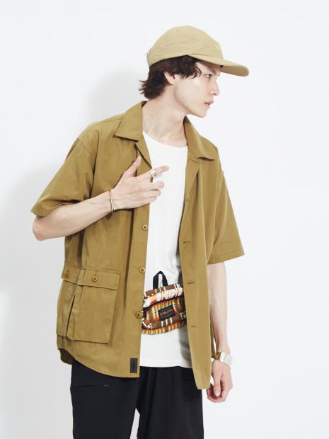 【MMMM】15008M20 コットンナイロンツイル半袖ユーティリティーシャツ