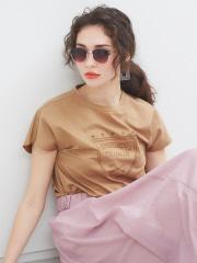 【Mylanka】シルケットロゴ刺繍Tシャツ
