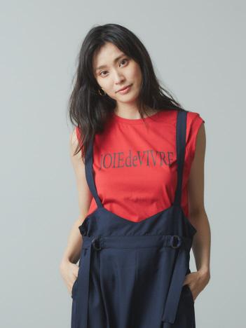 【Mylanka】ロゴプリントオーガニックノースリTシャツ