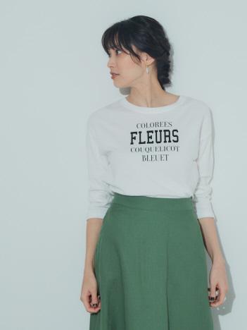 【Mylanka】FLEURSロゴプリントロングTシャツ