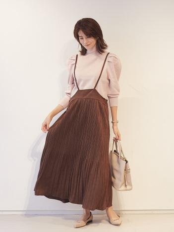 【Mylanka】スエード調プリーツジャンパースカート
