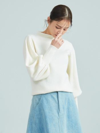 【Mylanka】ウール混モックネックニット