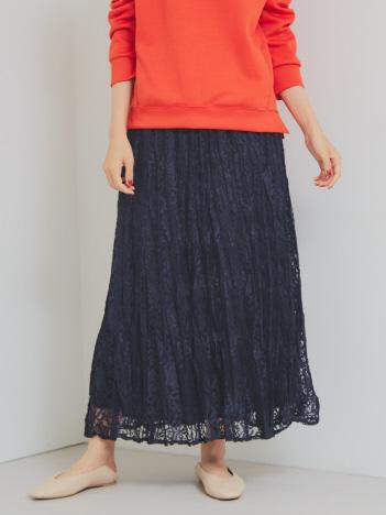 【Mylanka】ワッシャーレースプリーツスカート
