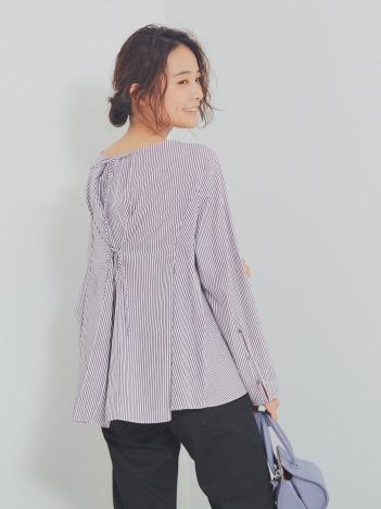 【BRAHMIN】ストライプ柄バックリボンシャツ