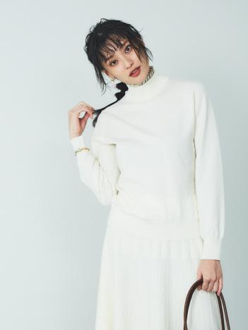 【BRAHMIN】レイヤード風ネックフリルニット