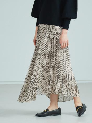 【BRAHMIN】幾何学柄イレギュラーヘムスカート
