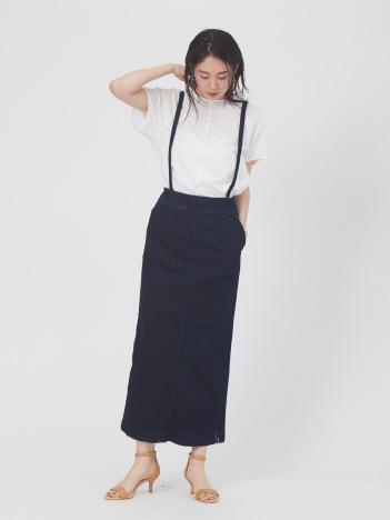 【Mylanka】サスペンダー付きデニムタイトスカート