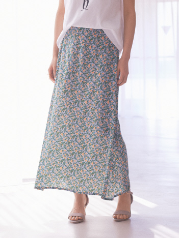 【Mylanka】フラワーマキシ丈スカート