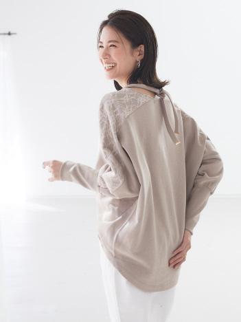 【BRAHMIN】 袖レーススウェットライクトップス