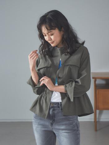【Mylanka 】リネンライクシャツブルゾン
