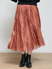 Rouge vif la cle - ドットサテンギャザースカート
