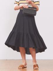 Rouge vif la cle - 製品染めリネンサーキュラースカート