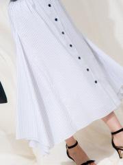 Rouge vif la cle - ボタン付き変形ストライプスカート
