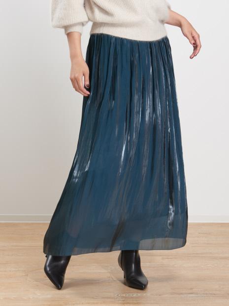 サテンギャザーロングスカート