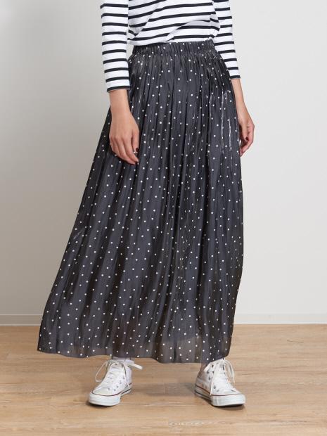 サテンギャザードットロングスカート