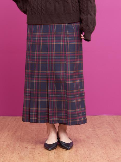 チェックタックロングスカート
