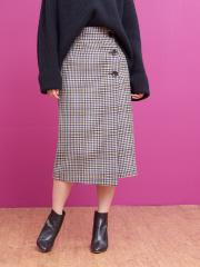 Rouge vif la cle - カラーチェックラップスカート