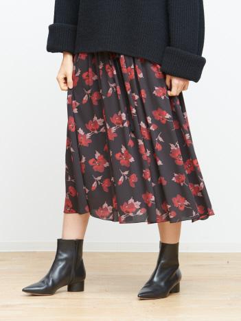 ベルト付きフラワースカート