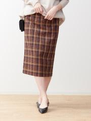 ベルト付きチェックタイトスカート