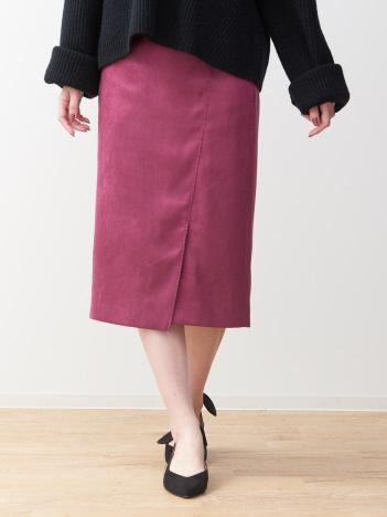 スエードミディタイトスカート