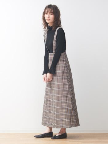 【展開店舗限定】チェック柄サスペンダー付きスカート