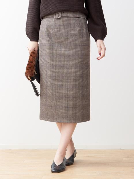 ベルト付きグレンチェックタイトスカート