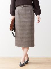 Rouge vif la cle - ベルト付きグレンチェックタイトスカート