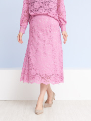 Rouge vif la cle - カラーレーススカート