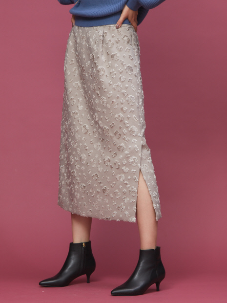 レオパード柄ジャガードスカート