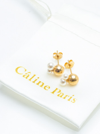 Caline Paris Crystal perl ピアス
