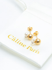 Rouge vif la cle - Caline Paris Crystal perl ピアス