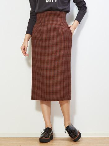 【MICA&DEAL】タック入りチェックタイトスカート