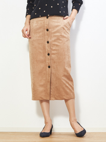 【MICA&DEAL】スエードフロントボタンスカート