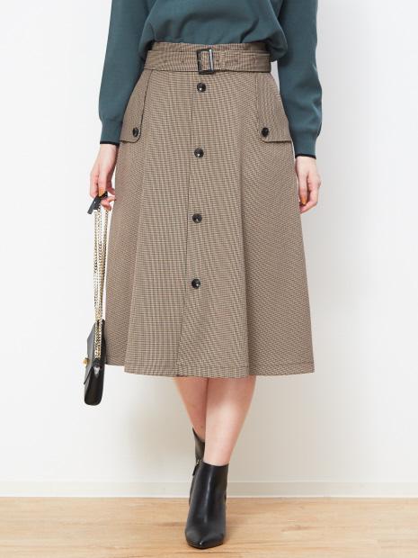ベルト付きトレンチ風スカート
