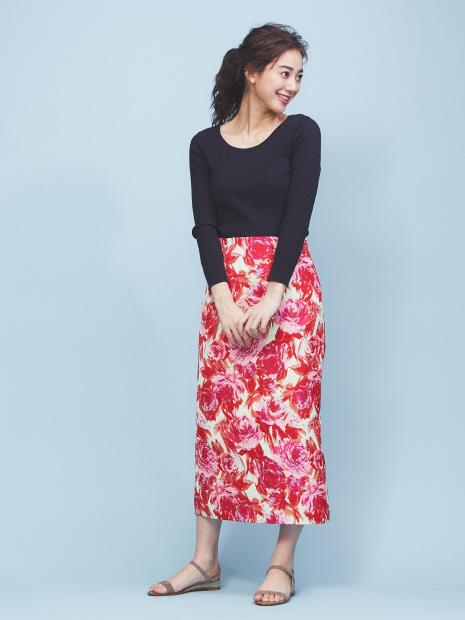 フラワージャガードタイトスカート
