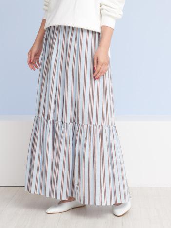 ラメストライプギャザースカート