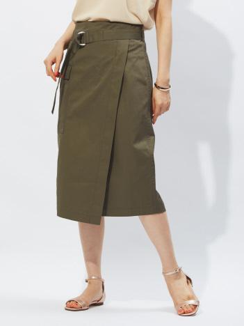 ポケット付ラップスカート