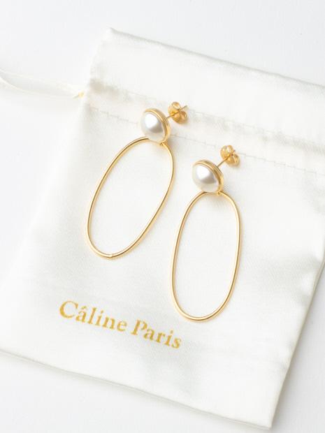 Caline Paris パールリングピアス