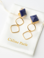 Rouge vif la cle - Caline Paris vintageダブルイヤリング【予約】
