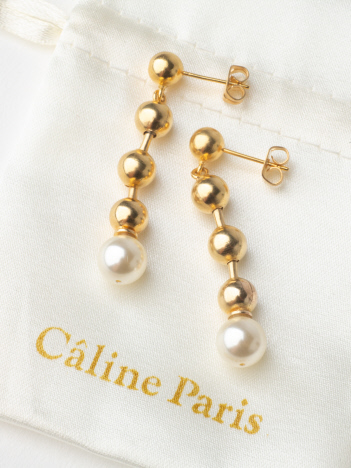 OUTLET (Ladie's) - Caline Paris チェーンパールピアス