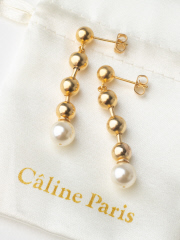 Rouge vif la cle - Caline Paris チェーンパールピアス