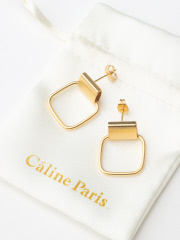 Rouge vif la cle - Caline Paris squareピアス