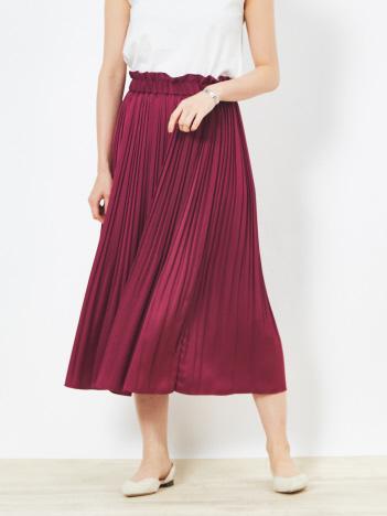 【Yangany】マットサテンプリーツスカート