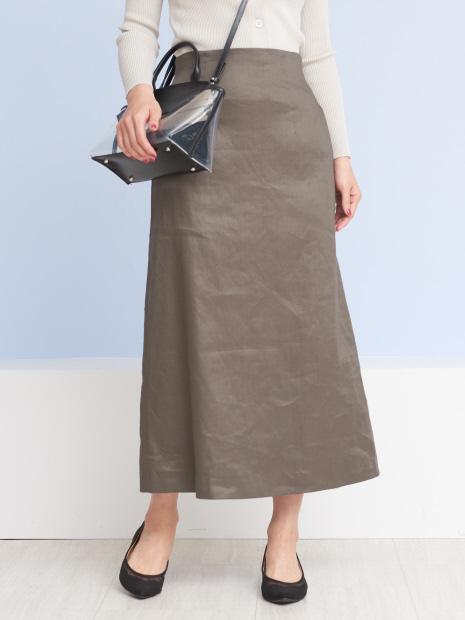 セミフレアリネンタイトスカート
