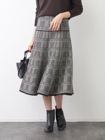 Rouge vif la cle - 千鳥柄ニットスカート【予約】